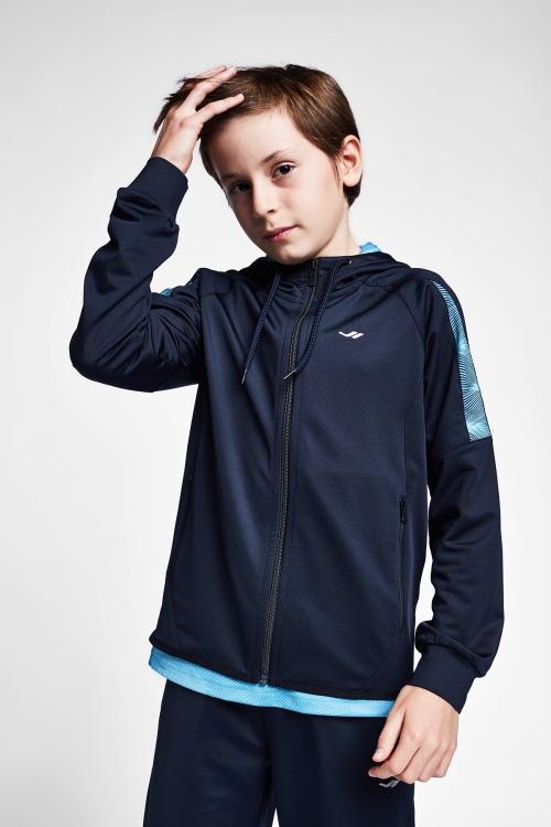 Lacivert Mavi Çocuk Kapüşonlu Üst 20B-3015
