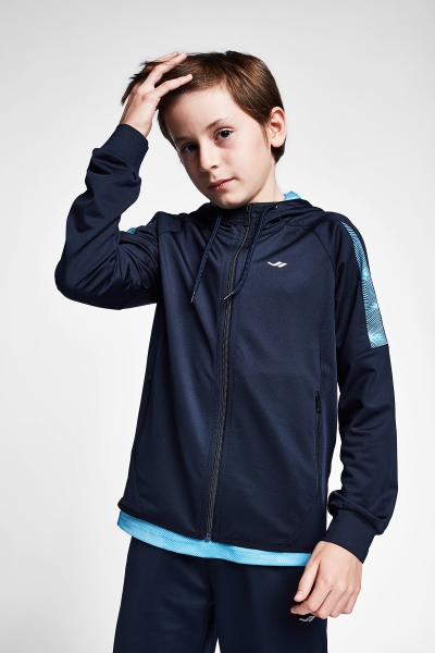 20B-3015 Kid Exercise Zip Hooded Top Navy