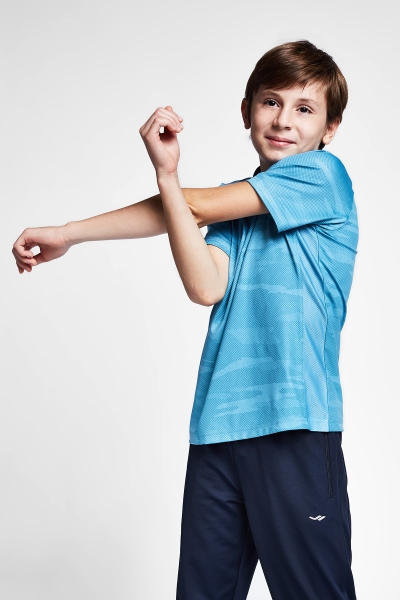 20B-3033 Kid Exercise Short Sleeve Tshirt Blue
