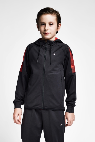 20B-3015 Kid Exercise Zip Hooded Top Siyah_Red