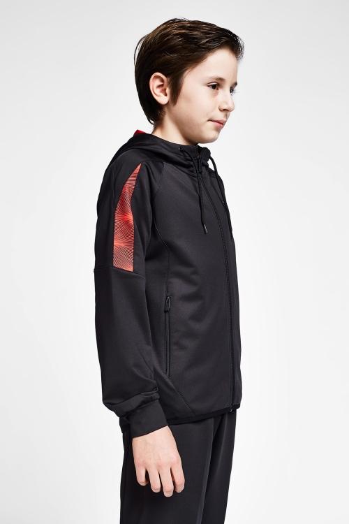 Siyah Kırmızı Çocuk  Fermuarlı Kapüşonlu Antrenman Üst 20B-3015