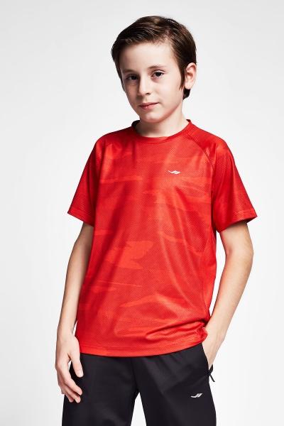 20B-3033 Kid Exercise Short Sleeve Tshirt Red