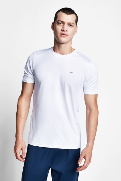 20B-1008 Men Running Short Sleeve Tshirt White