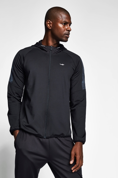 20B-1015 Men Exercise Zip Hooded Top Black