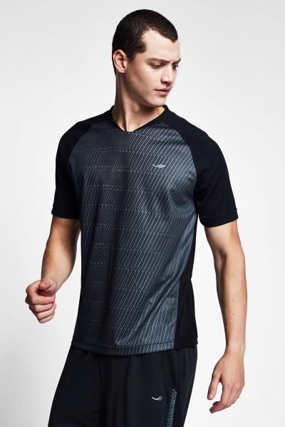20B-1031 Men Football Short Sleeve Tshirt Black