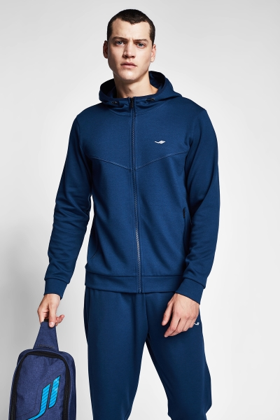 20B-1102 Men Zip Hooded Top Navy