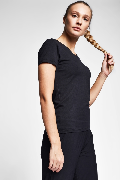 Siyah Kadın T-Shirt 20S-2202-20N