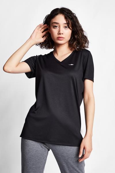 Siyah Kadın Kısa Kol T-Shirt 20S-2208
