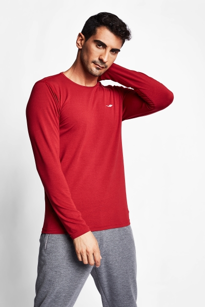 Bordo Erkek Uzun Kol T-Shirt 20S-1236