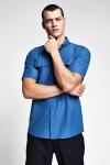 20Y-1154 Men Outdoor Short Sleeve Shirt Blue