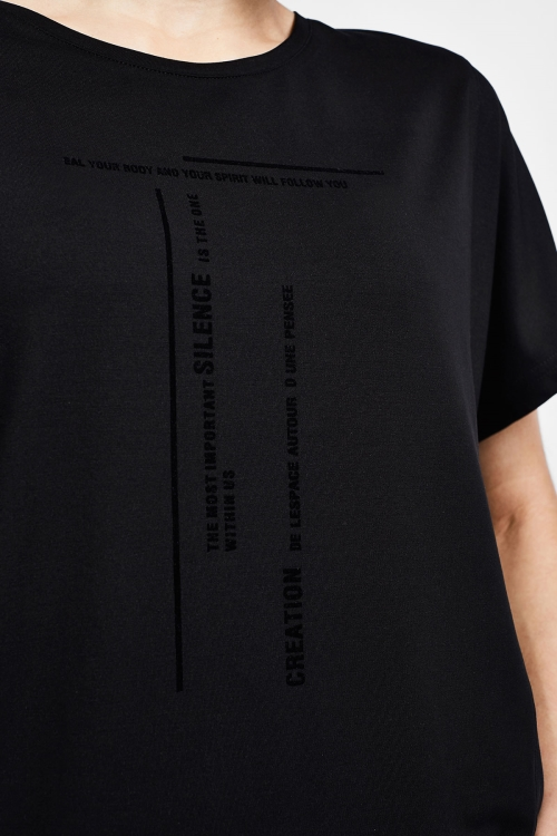 Siyah Kadın Kısa Kollu T-Shirt 21B-2016