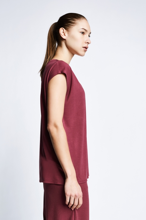 Vişne Kadın Kısa Kollu T-Shirt 21B-2023