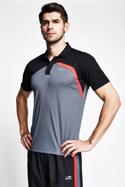 21B-1033 Men Short Sleeve Polo Collar TShirt  Grey_Black