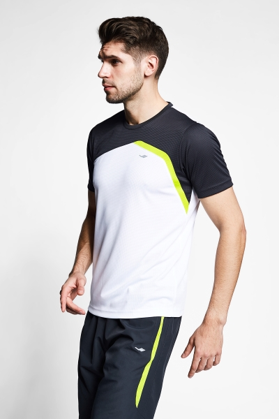 Beyaz Antrasit Erkek Kısa Kollu T-Shirt 21B-1034