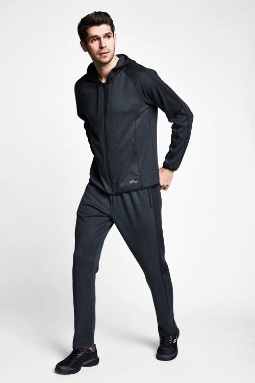 Siyah Erkek Fermuarlı Kapüşonlu Üst 21B-1107