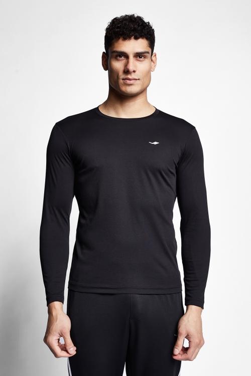 Siyah Erkek Uzun Kollu T-shirt 21S-1203-21N