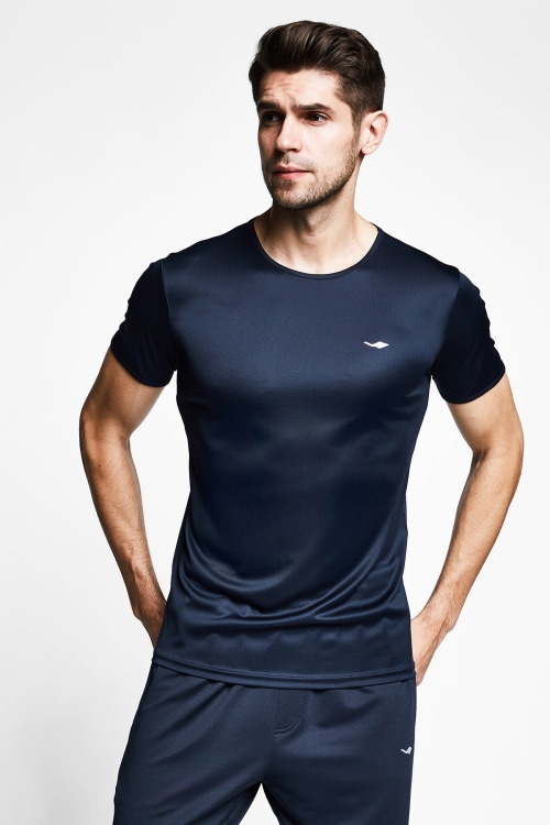 Koyu Lacivert Erkek Kısa Kollu T-Shirt 21S-1220-21N