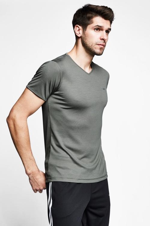 Haki Erkek Kısa Kollu T-Shirt 21S-1221-21N