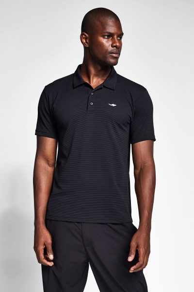 21S-1275-21N Men Polo T-Shirt Black