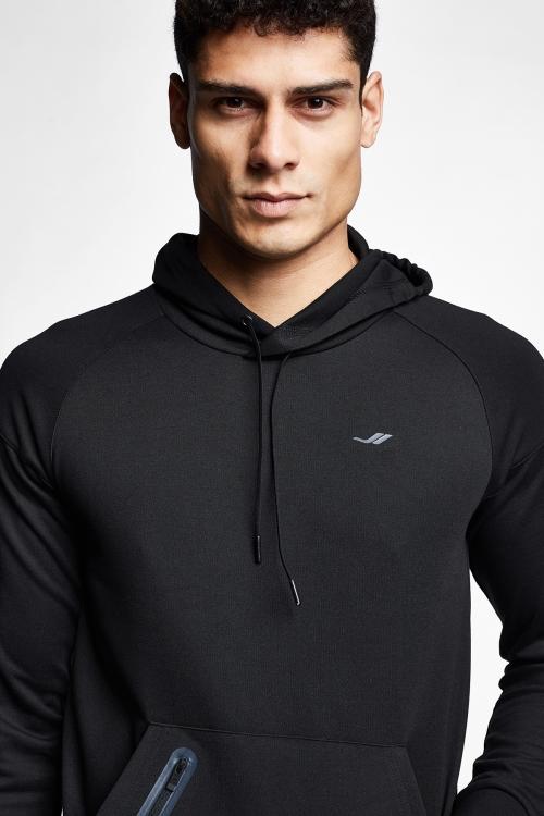 Siyah Erkek Kapüşonlu Sweatshirt 21N-1117