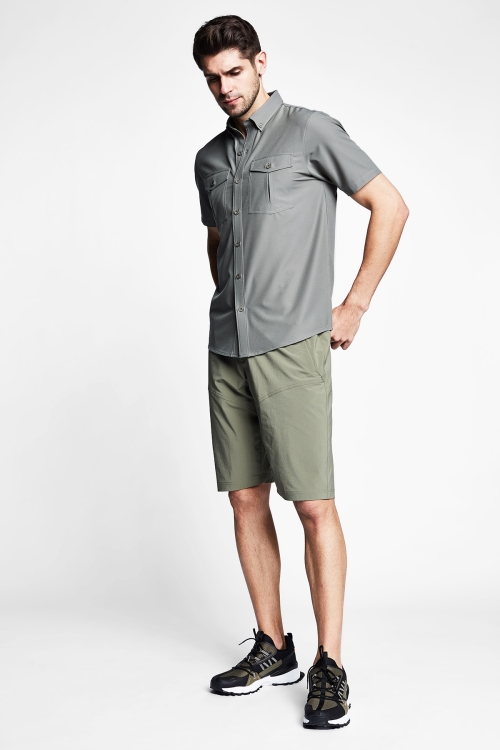 Haki Erkek Outdoor Kısa Kollu Gömlek 21Y-1061